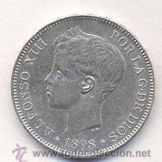 Monedas de España: ALFONSO XIII 1898 5 PTS PLATA. Lote 22587369