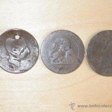 Monedas de España: 5 CENTIMOS DE ALFONSO XII AÑO 1877. TRES MONEDAS DE COBRE.. Lote 26767127