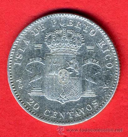 Monedas de España: MONEDA 20 CENTAVOS DE PUERTO RICO , ALFONSO XIII,1895 , MBC , RARISIMA PIEZA , M720 - Foto 2 - 46975920