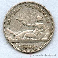 Monedas de España: 1 PESETA AÑO 1869 GOBIERNO PROVISIONAL. MUY BONITA. Lote 27320531
