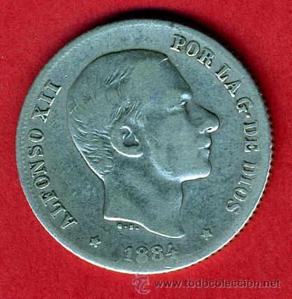 MONEDA 20 CENTAVOS 1884 MANILA FILIPINAS, MBC- , ORIGINAL, M839 (Numismática - España Modernas y Contemporáneas - De Isabel II (1.834) a Alfonso XIII (1.931))
