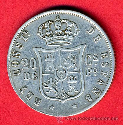 Monedas de España: MONEDA 20 CENTAVOS 1884 MANILA FILIPINAS, MBC- , ORIGINAL, M839 - Foto 2 - 27238537
