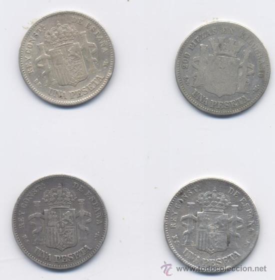 Monedas de España: LOTE DE 1 PESETA-GOB.PROVISIONAL Y ALFONSOXII - Foto 2 - 27267858
