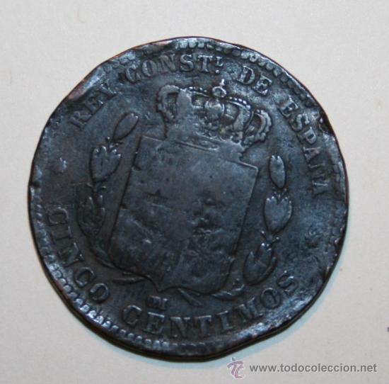 Monedas de España: MONEDA 5 CÉNTIMOS ALFONSO XII 1878 - Foto 2 - 28107335