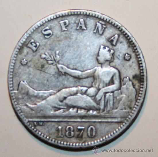 1 MONEDA - 2 PESETAS - 1870 (Numismática - España Modernas y Contemporáneas - De Isabel II (1.834) a Alfonso XIII (1.931))