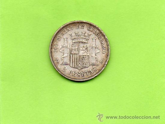 Monedas de España: MONEDA 2 PESETAS. GOBIERNO PROVISIONAL. AÑO 1870. ESTRELLAS 18 74. DEM. PLATA. ESPAÑA. - Foto 2 - 28119711