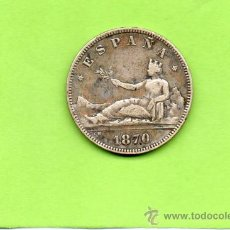 Monedas de España: MONEDA 2 PESETAS. AÑO 1870. ESTRELLAS 18 70. SNM. GOBIERNO PROVISIONAL. ESPAÑA. PLATA.. Lote 28250394