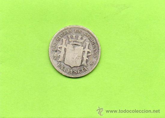 Monedas de España: MONEDA 1 PESETA. AÑO 1869. SNM. GOBIERNO PROVISIONAL. ESPAÑA. PLATA. - Foto 2 - 28249525