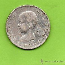 Monedas de España: MONEDA 5 PESETAS. AÑO 1890. ESTRELLAS -- --. MPM. ALFONSO XIII. PELÓN. ESPAÑA. PLATA.. Lote 28270506