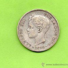Monedas de España: MONEDA 5 PESETAS. AÑO 1898. ESTRELLAS 18 --. SGV. ALFONSO XIII. TUPÉ. ESPAÑA. PLATA.. Lote 28275147