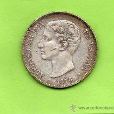 Monedas de España: MONEDA 5 PESETAS. AÑO 1876. ESTRELLAS 18 76. DEM. ALFONSO XII. ESPAÑA. PLATA.. Lote 28292983