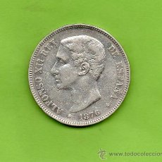 Monedas de España: MONEDA 5 PESETAS. AÑO 1876. ESTRELLAS 18 76. DEM. ALFONSO XII. ESPAÑA. PLATA.. Lote 28293029