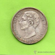 Monedas de España: MONEDA 5 PESETAS. AÑO 1876. ESTRELLAS -- 76. DEM. ALFONSO XII. ESPAÑA. PLATA.. Lote 28293045
