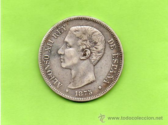 MONEDA 5 PESETAS. AÑO 1875. ESTRELLAS -- 75. DEM. ALFONSO XII. ESPAÑA. PLATA. DURO. (Numismática - España Modernas y Contemporáneas - De Isabel II (1.834) a Alfonso XIII (1.931))