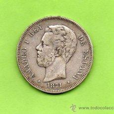 Monedas de España: MONEDA 5 PESETAS. AÑO 1871. ESTRELLAS 18 71. SDM. AMADEO I. ESPAÑA. PLATA. DURO.. Lote 28301847
