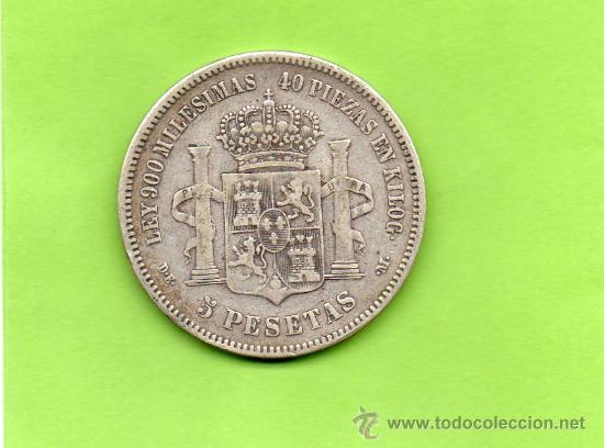 Monedas de España: MONEDA 5 PESETAS. AÑO 1875. ESTRELLAS -- 75. DEM. ALFONSO XII. ESPAÑA. PLATA. DURO. - Foto 2 - 28294664
