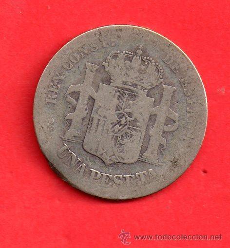MONEDA DE PLATA DE UNA PESETA MUY GASTADA VER FOTOS (Numismática - España Modernas y Contemporáneas - De Isabel II (1.834) a Alfonso XIII (1.931))