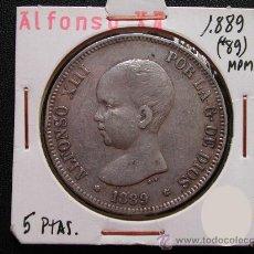 Monedas de España: ALFONSO XIII: 5 PESETAS 1889 MPM, ESTRELLAS 18 - 89 , PLATA. Lote 28463857