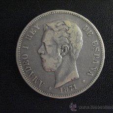 Monedas de España: 5 PESETAS AMADEO I 1871 18-71 SDM . PLATA. Lote 28716817
