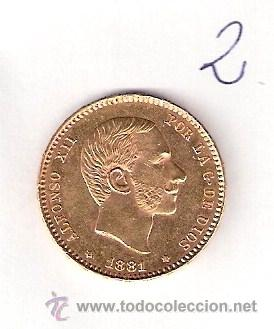 MONEDA DE ORO ALFONSINA - ALFONSO XII - 1881 - 25 PESETAS - ESTRELLAS 18 81 (Numismática - España Modernas y Contemporáneas - De Isabel II (1.834) a Alfonso XIII (1.931))