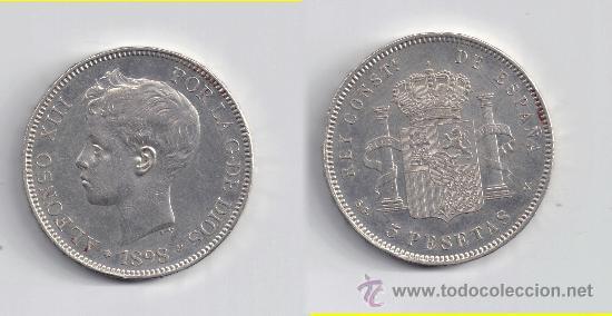 ALFONSO XIII: 5 PESETAS 1898 * 18-98 (Numismática - España Modernas y Contemporáneas - De Isabel II (1.834) a Alfonso XIII (1.931))