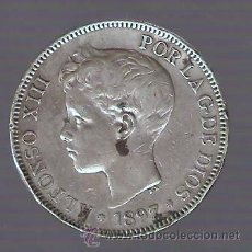 Monedas de España: 5 PESETAS ALFONSO XIII 1897 SGV ESTRELLAS 18-97 MBC- . Lote 29427290