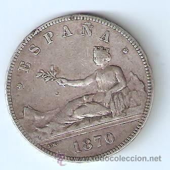 5 PESETAS 1870 GOBIERNO PROVISIONAL SNM ESTRELLAS 18-70 (Numismática - España Modernas y Contemporáneas - De Isabel II (1.834) a Alfonso XIII (1.931))