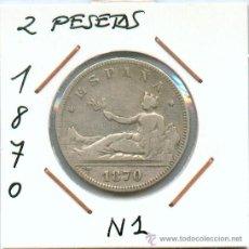 Monedas de España: 2 PESETAS DE PLATA DEL GOBIERNO PROVISIONAL AÑO 1870. N1. Lote 29541182