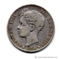 Monedas de España: MONEDA DE PLATA, 1 PESETA, ALFONSO XIII AÑO 1900 ESTADO MBC VER FOTOS. Lote 29655093