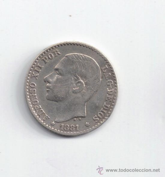 ALFONSO XII: 50 CENTIMOS 1881 ( PLATA ) (Numismática - España Modernas y Contemporáneas - De Isabel II (1.834) a Alfonso XIII (1.931))
