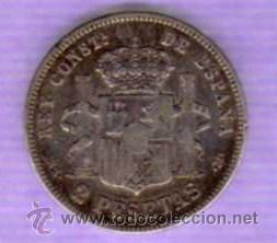 Monedas de España: MONEDA DE 2 PESETAS - ALFONSO XII - 1982 - Foto 2 - 29841582
