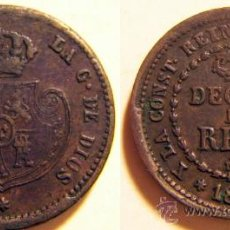 Monedas de España: DECIMA DE REAL ISABEL II SEGOVIA 1853. Lote 30031336
