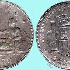 Monedas de España: I REPUBLICA - 5 PESETAS PLATA 1870 * 70 - MADRID SNM. CONSERVACIÓN EBC-/MBC+. Lote 42825546