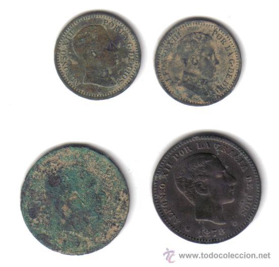 LOTE 4 MONEDAS 5 CENTIMOS ALFONSO XII 1878 / 2 CENTIMOS ALFONSO XIII 1905 (Numismática - España Modernas y Contemporáneas - De Isabel II (1.834) a Alfonso XIII (1.931))