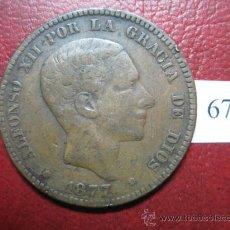 Monedas de España: ESPAÑA, 10 CENTIMOS 1877 , ALFONSO XII , 12. Lote 30565151
