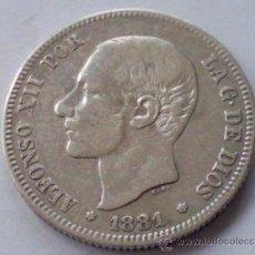 Monedas de España: MONEDA DE PLATA , 2 PESETAS , ALFONSO XII ,-1881 ,-MS-M , CALIDAD MBC+. Lote 30767140