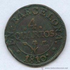 Monedas de España: JOSE NAPOLEON ESPAÑA. 4 CUARTOS AÑO 1810, MONEDA MUY ESCASA Y MAS EN ESTA CONSERVACION. Lote 30874203