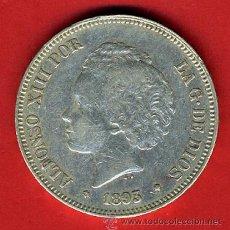 Monedas de España: MONEDA 5 PESETAS 1893 PGV, ALFONSO XIII MUY RARA , DURO PLATA , EBC- , ORIGINAL, M928. Lote 31157411