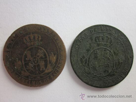 2 COBRES DE ISABEL II. 2 1/2 CÉNTIMOS DE ESCUDO. 1868. BARCELONA Y SEVILLA. (Numismática - España Modernas y Contemporáneas - De Isabel II (1.834) a Alfonso XIII (1.931))