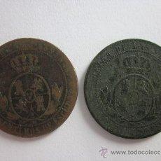 Monedas de España: 2 COBRES DE ISABEL II. 2 1/2 CÉNTIMOS DE ESCUDO. 1868. BARCELONA Y SEVILLA.. Lote 32041771