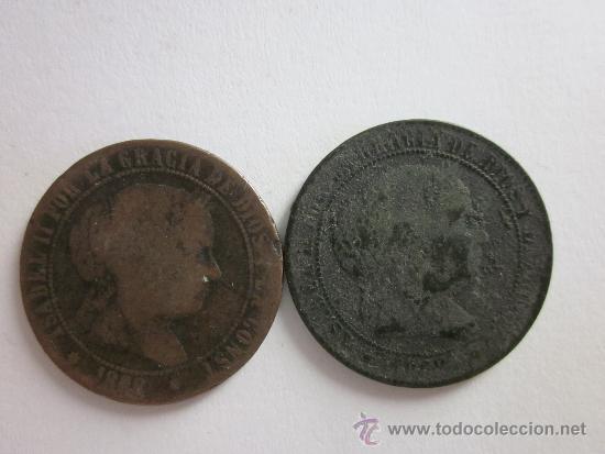 Monedas de España: 2 cobres de Isabel II. 2 1/2 céntimos de escudo. 1868. Barcelona y Sevilla. - Foto 2 - 32041771