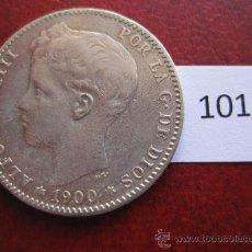 Monedas de España: ESPAÑA , 1 PESETA PLATA, 1900 19 - 00 SMV , ALFONSO XIII , 13. Lote 32588038