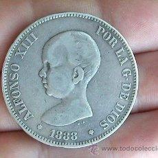 Monedas de España: 5 PESETAS 1888 MP-M * 88, ESPAÑA, ALFONSO XIII, PELON, PLATA . Lote 32732781