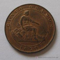 Monedas de España: GOBIERNO PROVISIONAL 5 CENTIMOS 1870 SC- BRILLO ORIGINAL.. Lote 32921130