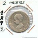 Monedas de España: 2 PESETAS DE PLATA ALFONSO XIII AÑO 1892. Lote 33390757