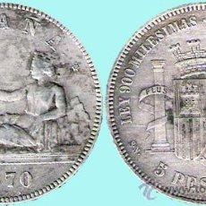 Monedas de España: I REPUBLICA - 5 PESETAS PLATA 1870 * 70 - MADRID SNM. CONSERVACIÓN EBC-. Lote 33783116