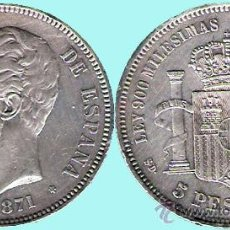 Monedas de España: AMADEO I - 5 PESETAS PLATA 1871 * 71 DE MADRID SDM - CONSERVACIÓN EBC- . Lote 35019943