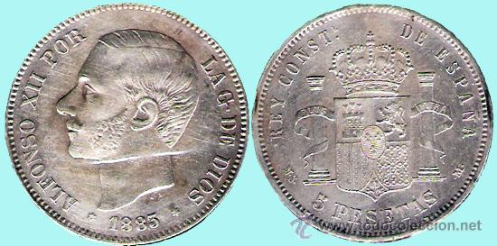 ALFONSO XII . 5 PESETAS PLATA 1883 * 83 DE MADRID MSM CONSERVACIÓN EBC- (Numismática - España Modernas y Contemporáneas - De Isabel II (1.834) a Alfonso XIII (1.931))