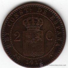 Monedas de España: 2 GR. COBRE, 2 CÉNTIMOS ALFONSO XIII 1912 *12, PC V, -EBC+-. Lote 33874466