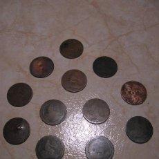 Monedas de España: LOTE DE TRECE MONEDAS DE 10 CÉNTIMOS DE COBRE DEL GOBIERNO PROVISIONAL 1870. Lote 33993546